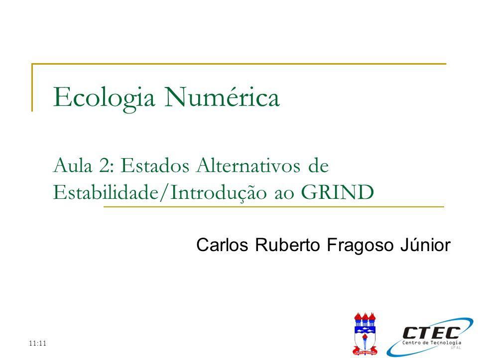 11:11 Ecologia Numérica Aula 2: Estados Alternativos de Estabilidade/Introdução ao GRIND Carlos Ruberto Fragoso Júnior