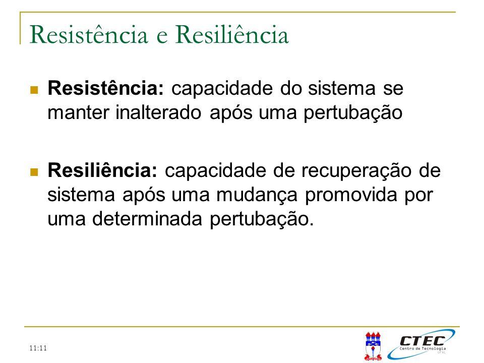11:11 Resistência: capacidade do sistema se manter inalterado após uma pertubação Resiliência: capacidade de recuperação de sistema após uma mudança p
