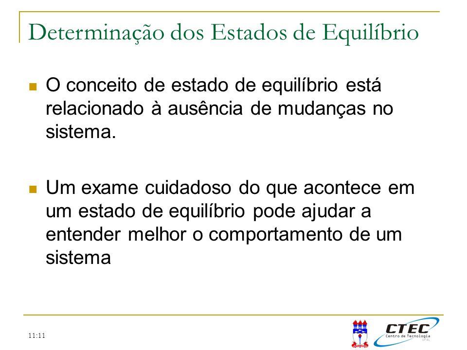11:11 O conceito de estado de equilíbrio está relacionado à ausência de mudanças no sistema. Um exame cuidadoso do que acontece em um estado de equilí