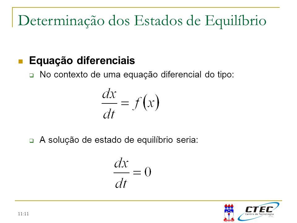 11:11 Equação diferenciais No contexto de uma equação diferencial do tipo: A solução de estado de equilíbrio seria: Determinação dos Estados de Equilí