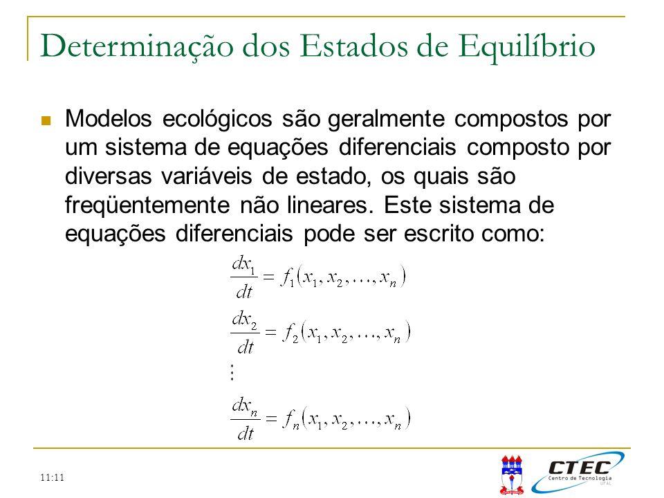11:11 Modelos ecológicos são geralmente compostos por um sistema de equações diferenciais composto por diversas variáveis de estado, os quais são freq