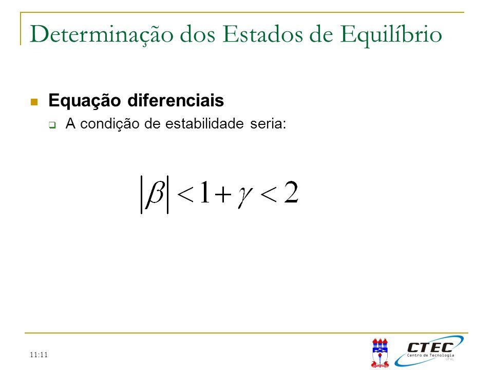 11:11 Equação diferenciais A condição de estabilidade seria: Determinação dos Estados de Equilíbrio