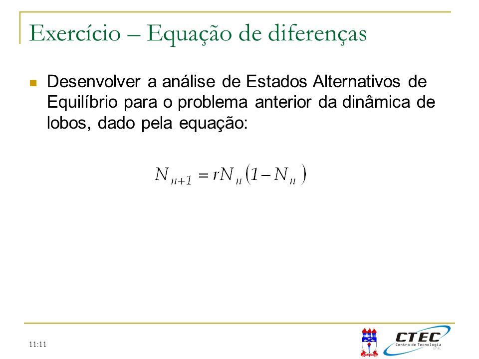 11:11 Exercício – Equação de diferenças Desenvolver a análise de Estados Alternativos de Equilíbrio para o problema anterior da dinâmica de lobos, dad