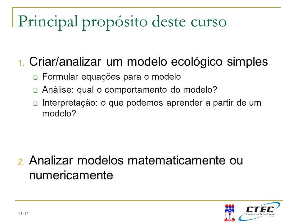 11:11 Principal propósito deste curso 1. Criar/analizar um modelo ecológico simples Formular equações para o modelo Análise: qual o comportamento do m