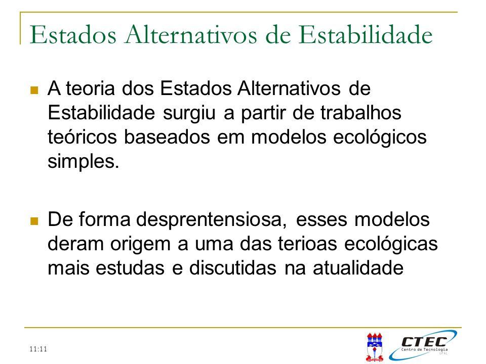 11:11 Estados Alternativos de Estabilidade A teoria dos Estados Alternativos de Estabilidade surgiu a partir de trabalhos teóricos baseados em modelos