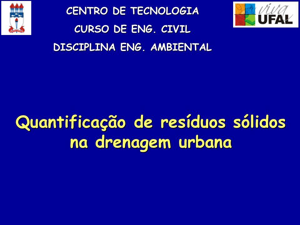 Canal da José de Alencar e Bacia de Retenção Qmáx de projeto 16,159 m 3 /s Vol de projeto 12.619 m 3 Quantificação de Resíduos Sólidos na Drenagem Urbana