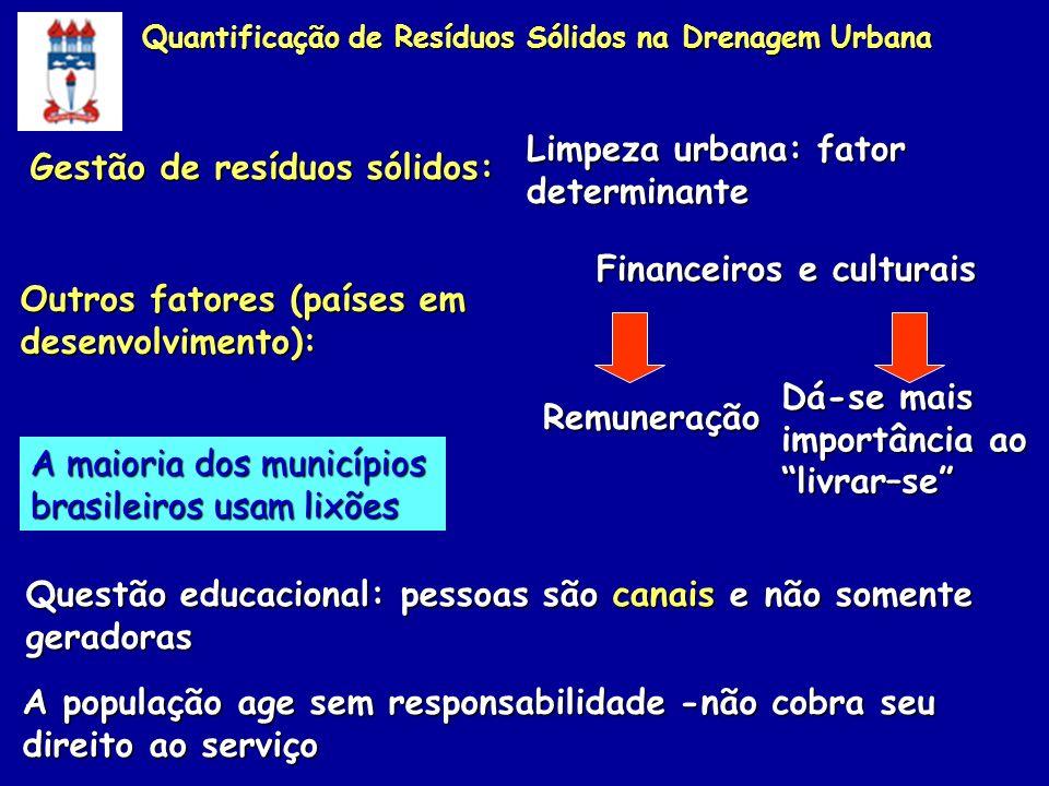 Outros fatores (países em desenvolvimento): Financeiros e culturais Remuneração Dá-se mais importância ao livrar–se A maioria dos municípios brasileir