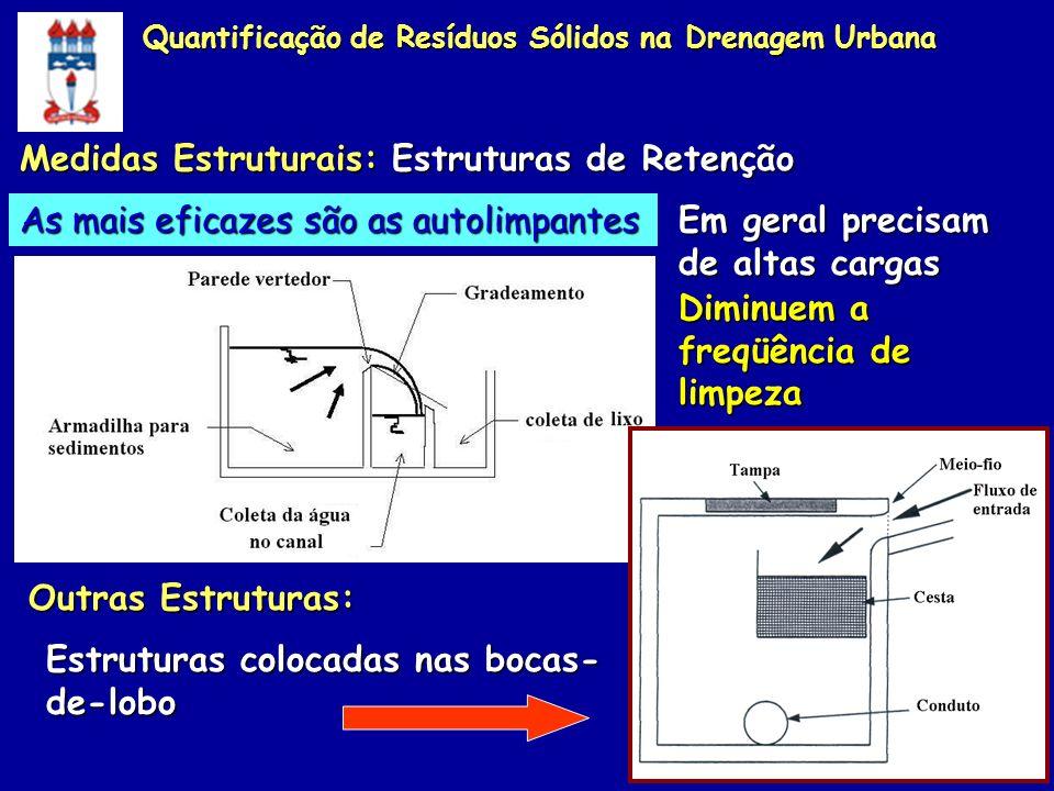 Medidas Estruturais: Estruturas de Retenção As mais eficazes são as autolimpantes Em geral precisam de altas cargas Outras Estruturas: Estruturas colo