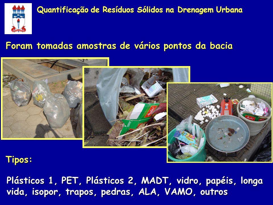 Foram tomadas amostras de vários pontos da bacia Plásticos 1, PET, Plásticos 2, MADT, vidro, papéis, longa vida, isopor, trapos, pedras, ALA, VAMO, ou