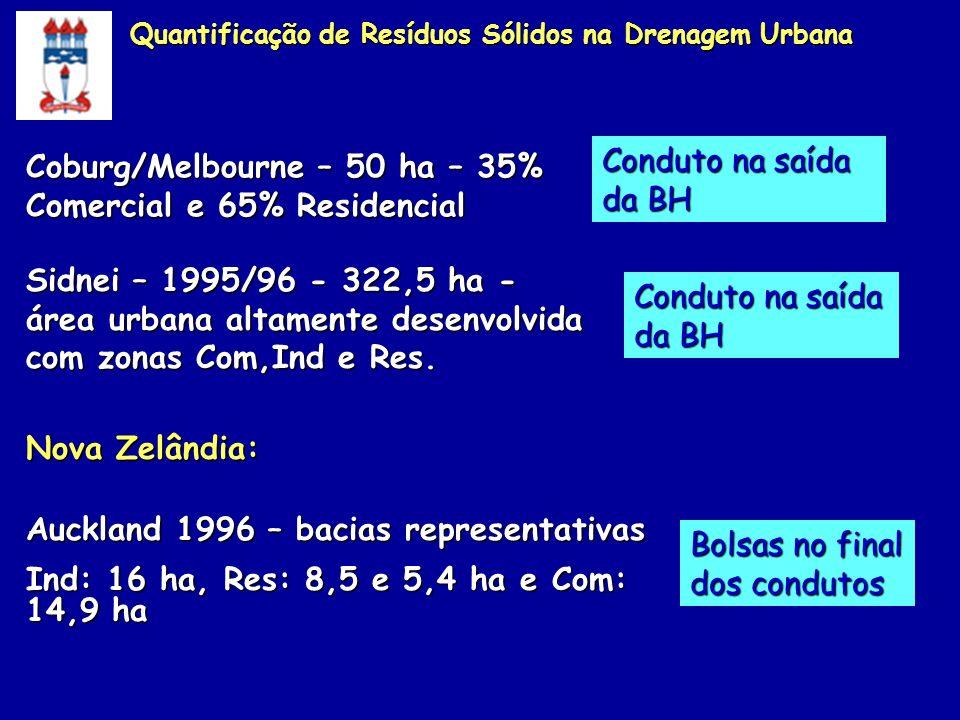 8 meses 0,52 kg/hab/dia Setores de coleta domiciliar e seção sudeste de varrição 0,4 km/ha 0,24 km/ha em média observados Quantificação de Resíduos Sólidos na Drenagem Urbana