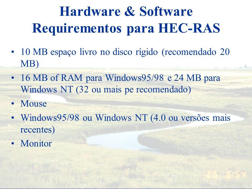 HEC-RAS – Documentações Manual do usuário: oferece uma introdução e revisão sobre modelage, intruções de instalação, como começar, um simples exemplo,