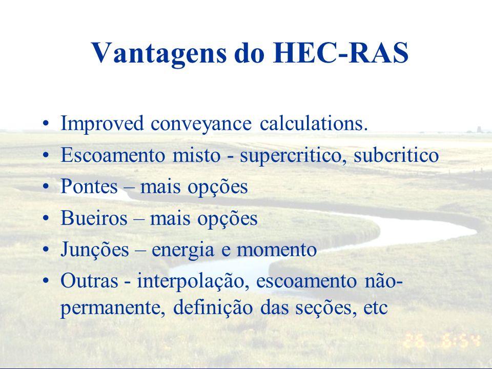 Modelos Hidráulicas Regime Permanente –WSPRO (FHA) –WSP2 –HEC-2 (last one out in 1991) –HEC-RAS (released 1995) Regime não-permanente –UNET –DAMBREAK