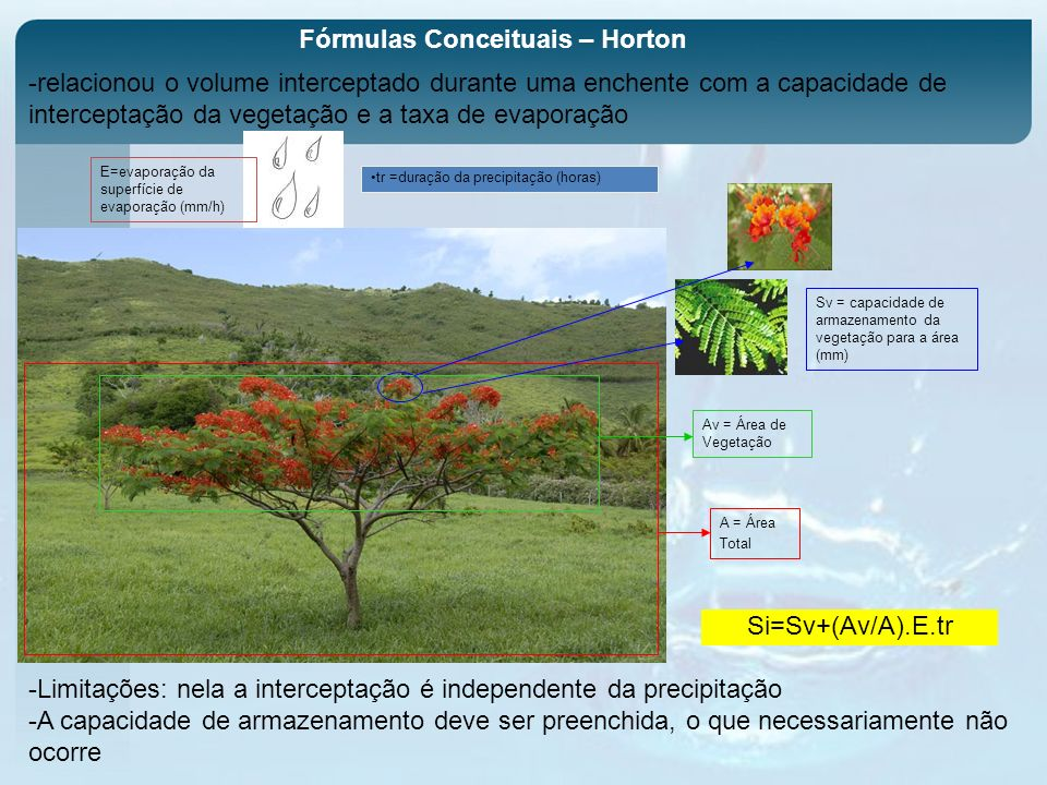 Fórmulas Conceituais – Horton Sv = capacidade de armazenamento da vegetação para a área (mm) Av = Área de Vegetação A = Área Total Si=Sv+(Av/A).E.tr E