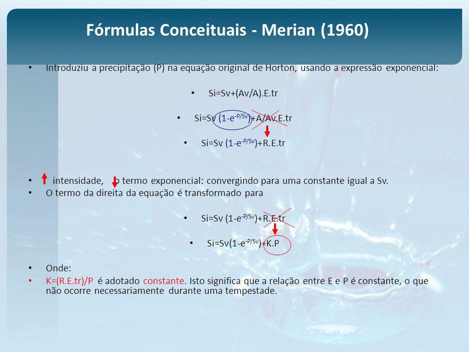 Fórmulas Conceituais - Merian (1960) Introduziu a precipitação (P) na equação original de Horton, usando a expressão exponencial: Si=Sv+(Av/A).E.tr Si