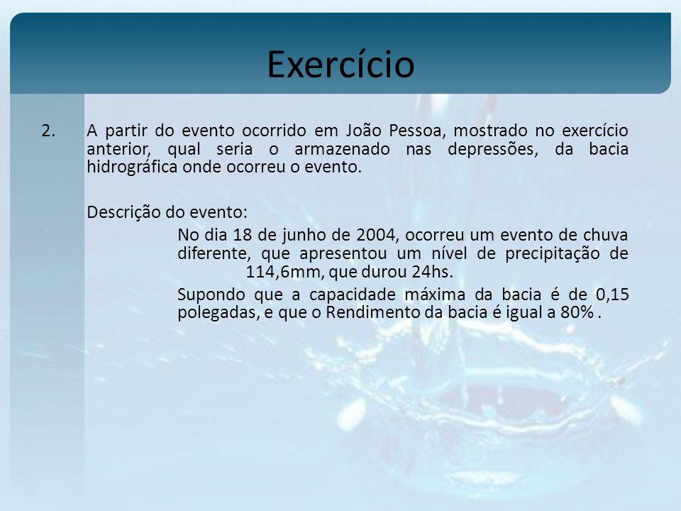 Exercício 2.A partir do evento ocorrido em João Pessoa, mostrado no exercício anterior, qual seria o armazenado nas depressões, da bacia hidrográfica