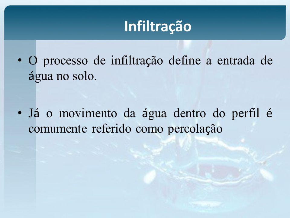O processo de infiltra ç ão define a entrada de á gua no solo. J á o movimento da á gua dentro do perfil é comumente referido como percola ç ão Infilt