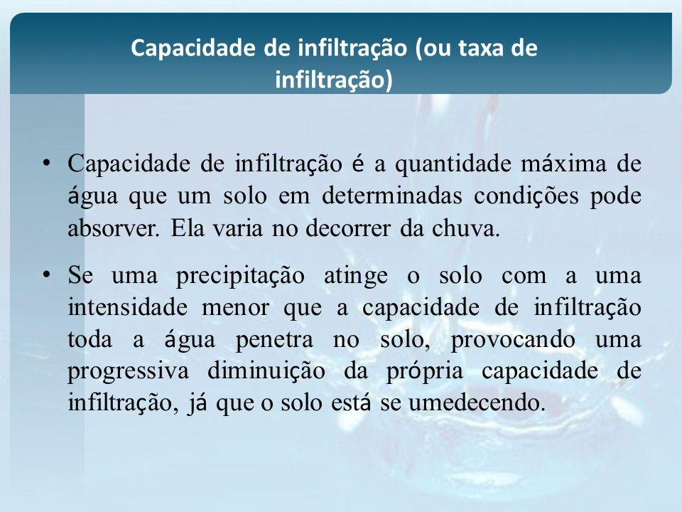 Capacidade de infiltração (ou taxa de infiltração) Capacidade de infiltra ç ão é a quantidade m á xima de á gua que um solo em determinadas condi ç õe