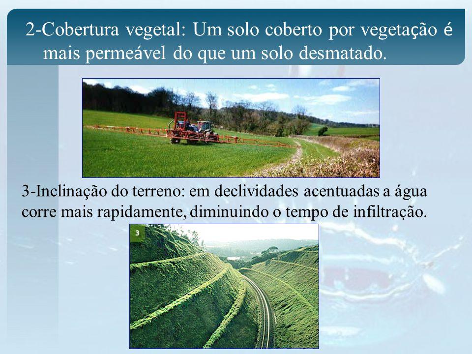 2-Cobertura vegetal: Um solo coberto por vegeta ç ão é mais perme á vel do que um solo desmatado. 3-Inclinação do terreno: em declividades acentuadas