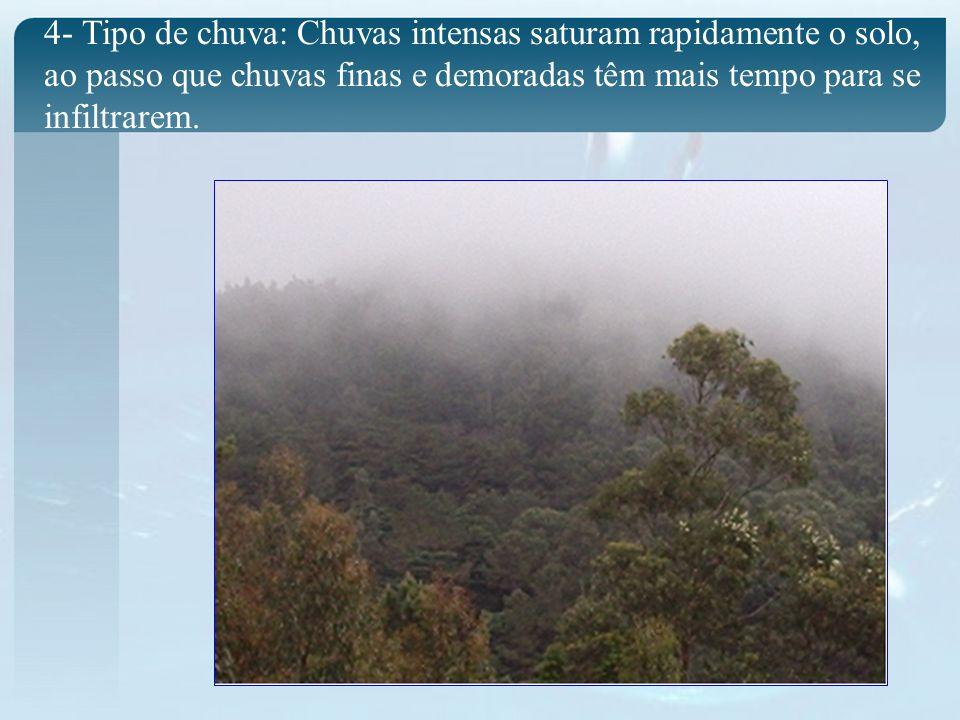 4- Tipo de chuva: Chuvas intensas saturam rapidamente o solo, ao passo que chuvas finas e demoradas têm mais tempo para se infiltrarem.