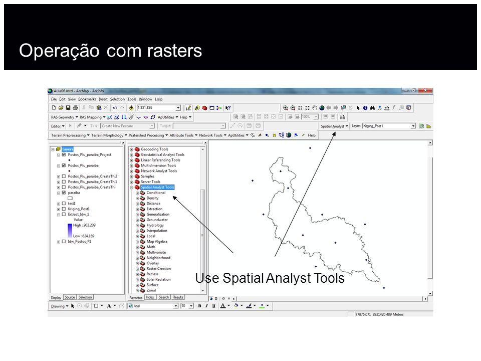 Operação com rasters Use Spatial Analyst Tools