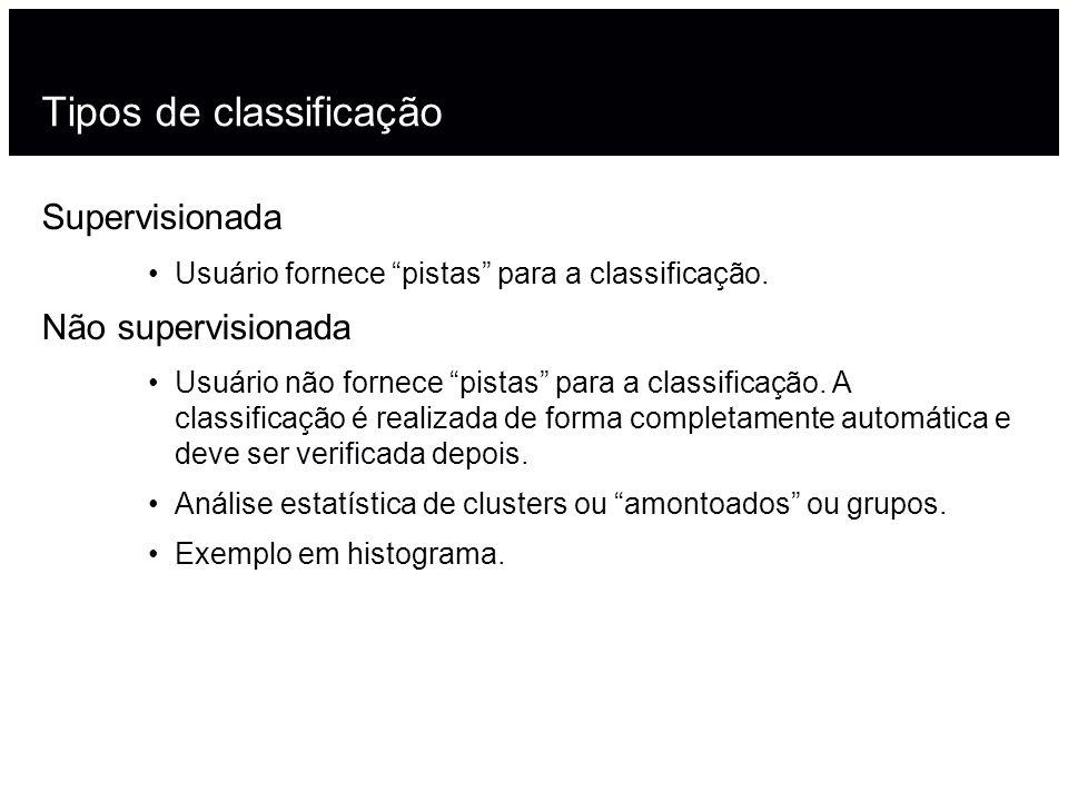 Tipos de classificação Supervisionada Usuário fornece pistas para a classificação.