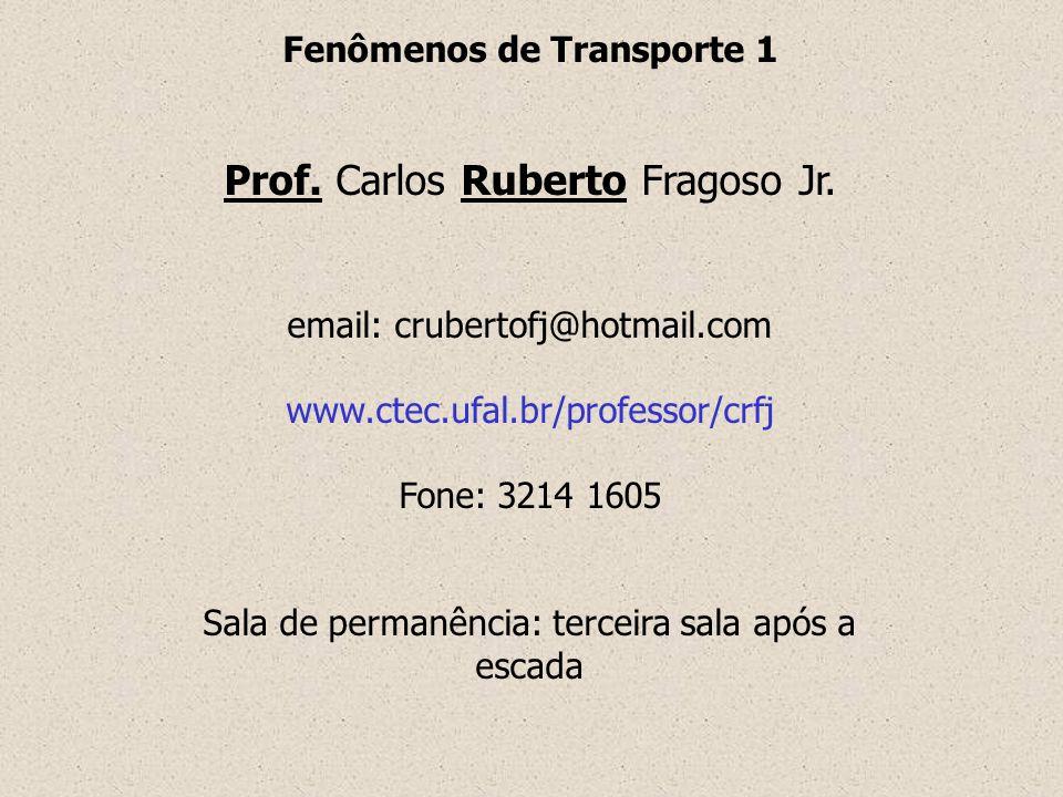 Fenômenos de Transporte 1 Prof. Carlos Ruberto Fragoso Jr. email: crubertofj@hotmail.com www.ctec.ufal.br/professor/crfj Fone: 3214 1605 Sala de perma
