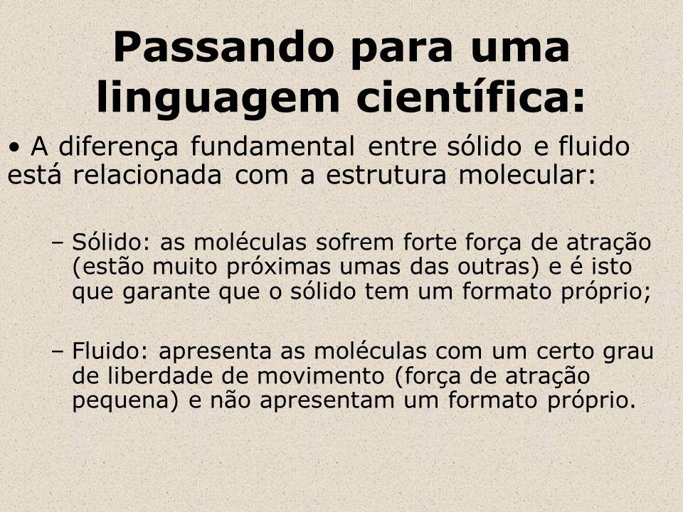 Passando para uma linguagem científica: A diferença fundamental entre sólido e fluido está relacionada com a estrutura molecular: –Sólido: as molécula