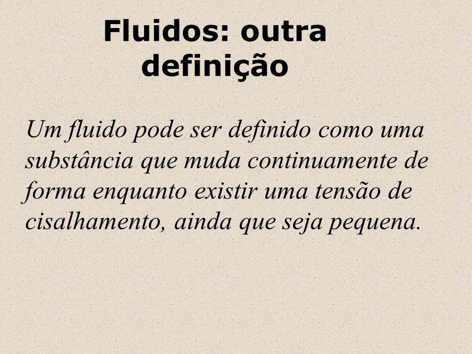 Fluidos: outra definição Um fluido pode ser definido como uma substância que muda continuamente de forma enquanto existir uma tensão de cisalhamento,