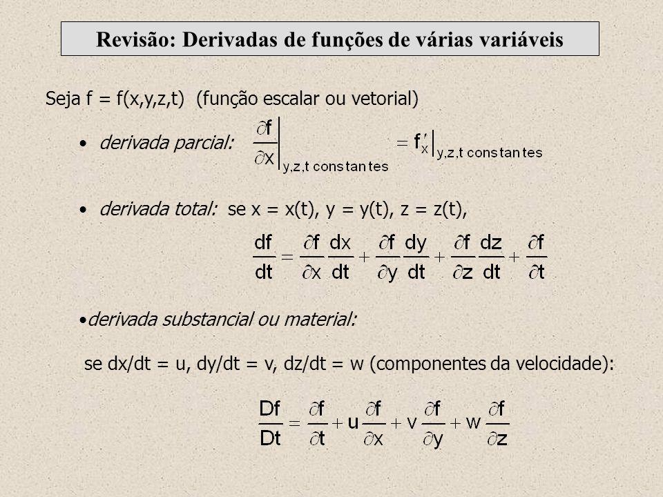 Seja f = f(x,y,z,t) (função escalar ou vetorial) derivada parcial: derivada total: se x = x(t), y = y(t), z = z(t), derivada substancial ou material: