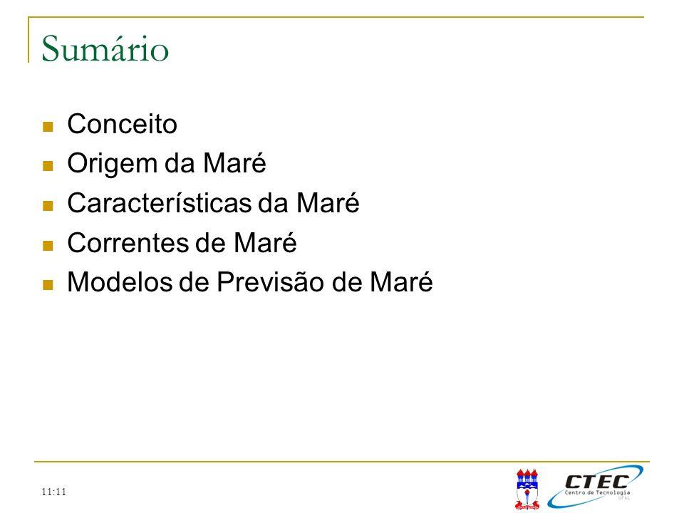 11:11 Sumário Conceito Origem da Maré Características da Maré Correntes de Maré Modelos de Previsão de Maré