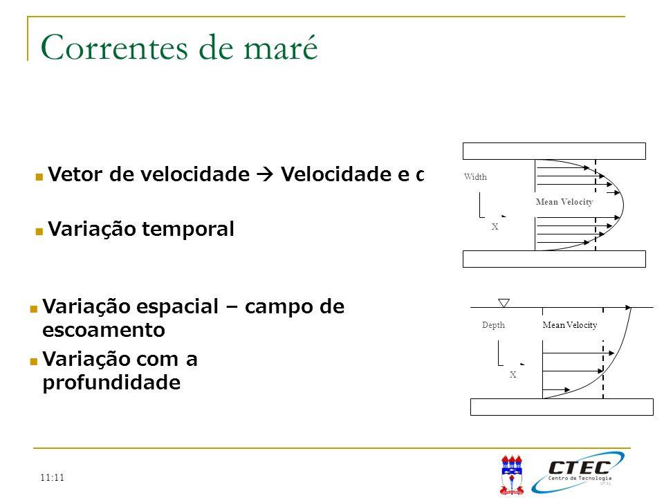 11:11 Vetor de velocidade Velocidade e direção Variação temporal Mean Velocity Width X Mean VelocityDepth X Variação com a profundidade Variação espac