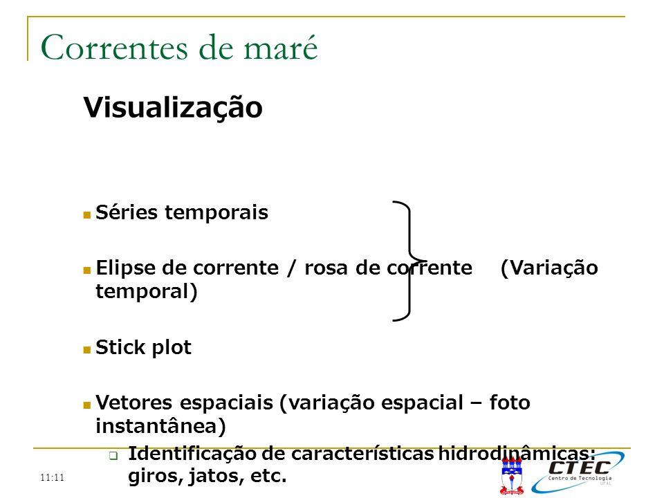 11:11 Visualização Séries temporais Elipse de corrente / rosa de corrente (Variação temporal) Stick plot Vetores espaciais (variação espacial – foto i