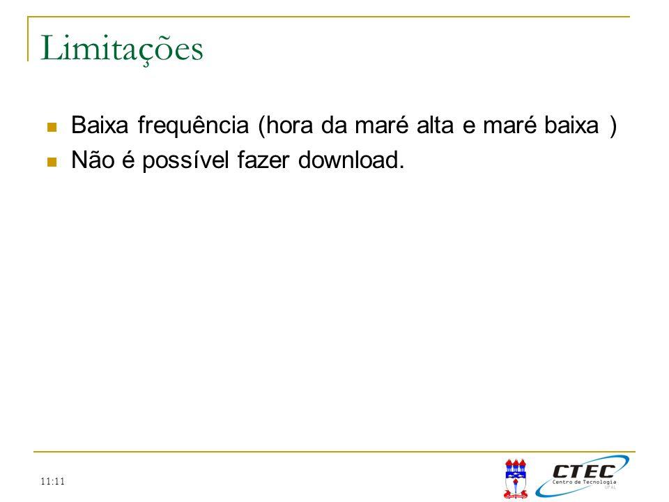 11:11 Limitações Baixa frequência (hora da maré alta e maré baixa ) Não é possível fazer download.