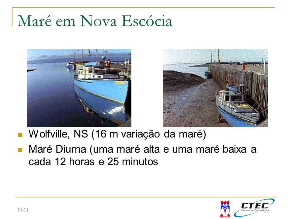 11:11 Maré em Nova Escócia Wolfville, NS (16 m variação da maré) Maré Diurna (uma maré alta e uma maré baixa a cada 12 horas e 25 minutos