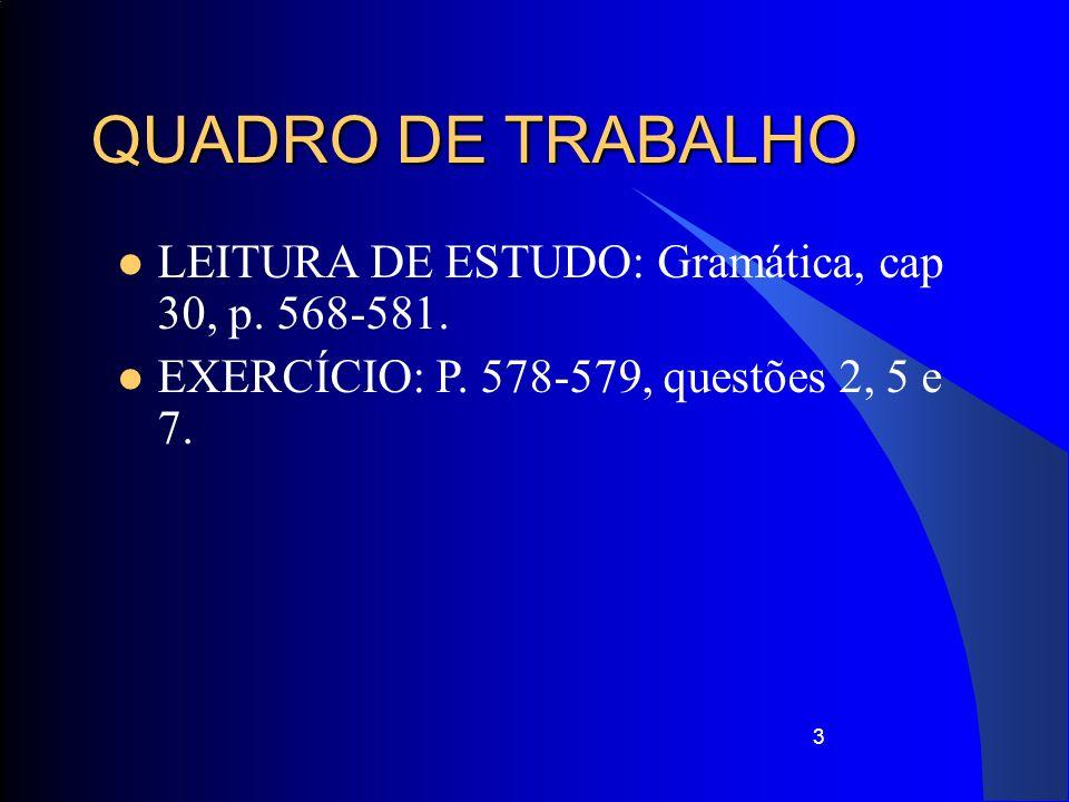3 QUADRO DE TRABALHO LEITURA DE ESTUDO: Gramática, cap 30, p. 568-581. EXERCÍCIO: P. 578-579, questões 2, 5 e 7.