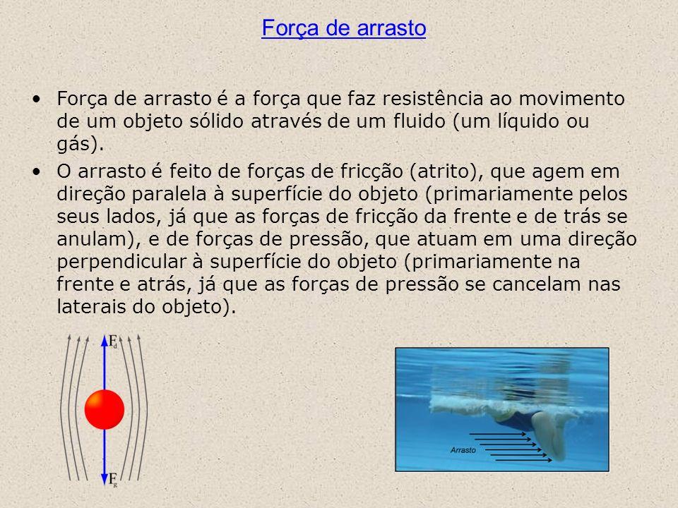 Força de arrasto Força de arrasto é a força que faz resistência ao movimento de um objeto sólido através de um fluido (um líquido ou gás). O arrasto é
