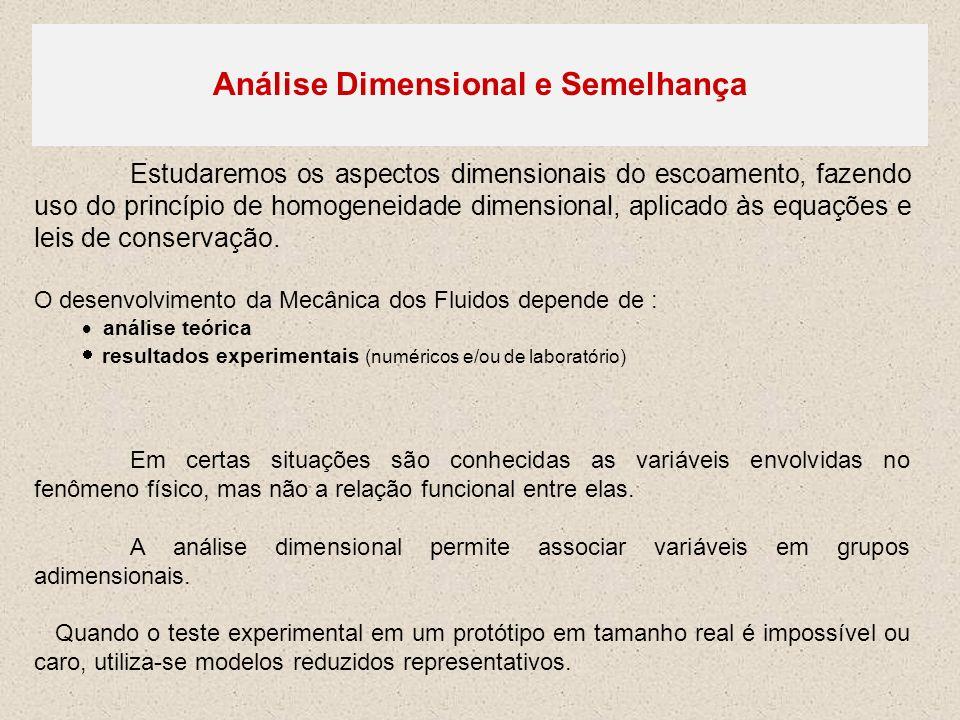 Análise Dimensional e Semelhança Estudaremos os aspectos dimensionais do escoamento, fazendo uso do princípio de homogeneidade dimensional, aplicado à