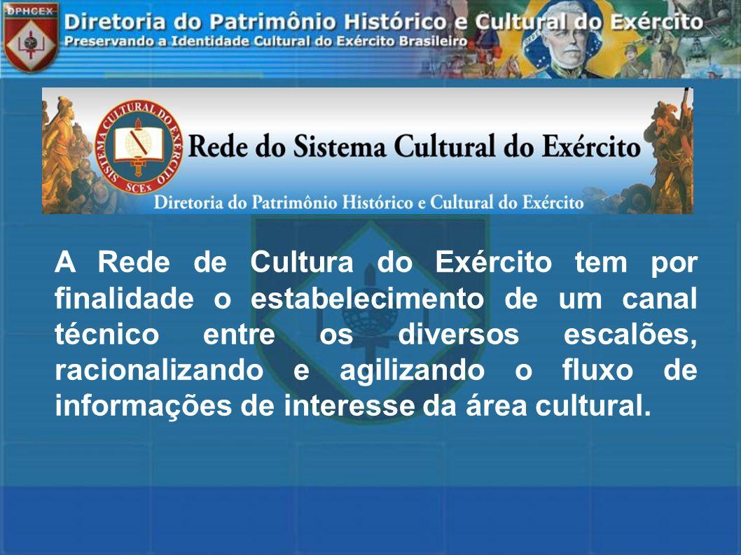 A Rede de Cultura do Exército tem por finalidade o estabelecimento de um canal técnico entre os diversos escalões, racionalizando e agilizando o fluxo de informações de interesse da área cultural.