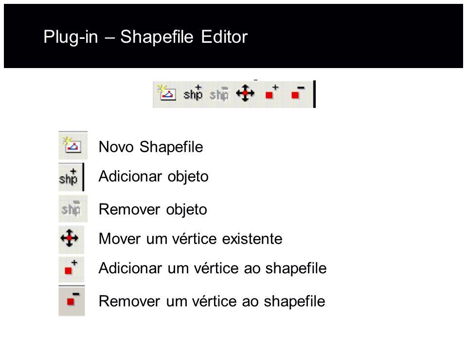 Plug-in – Shapefile Editor Novo Shapefile Adicionar objeto Remover objeto Mover um vértice existente Adicionar um vértice ao shapefile Remover um vért