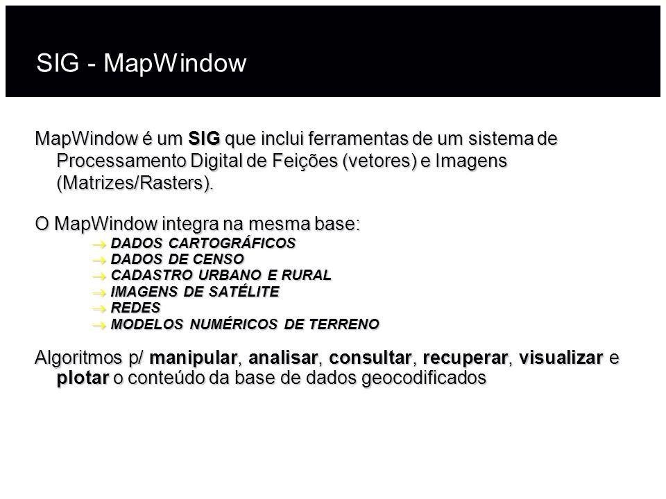 MapWindowé um SIG que inclui ferramentas de um sistema de Processamento Digital de Feições (vetores) e Imagens (Matrizes/Rasters). MapWindow é um SIG