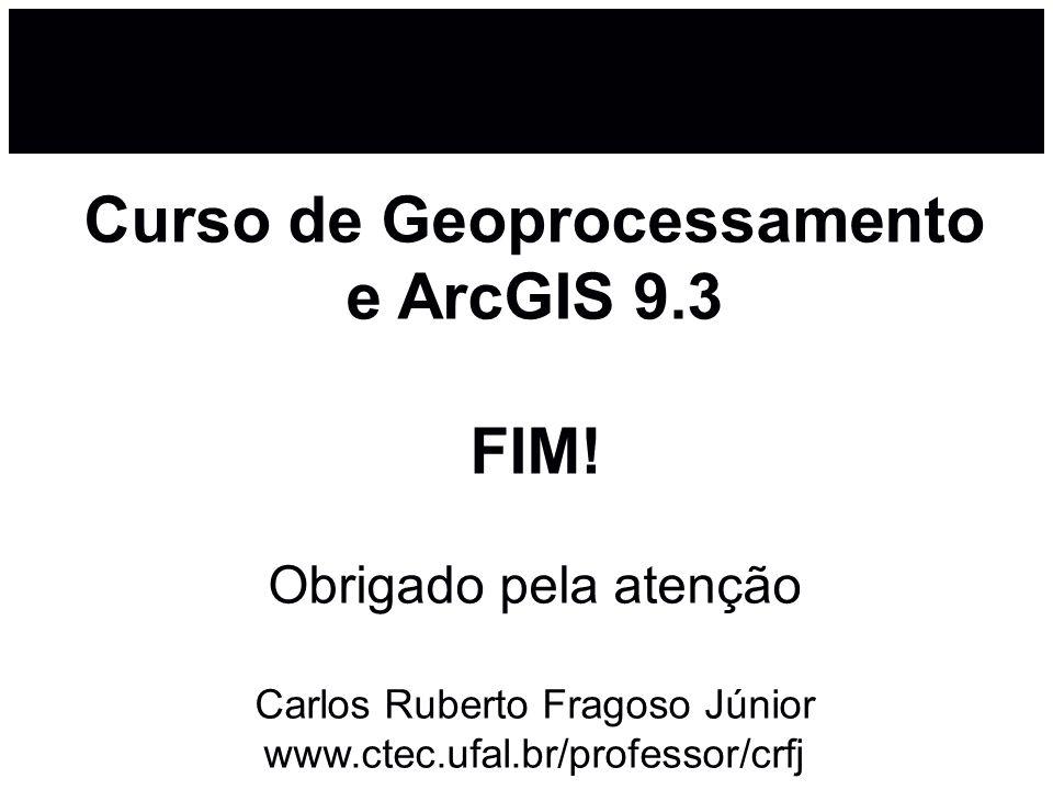 Curso de Geoprocessamento e ArcGIS 9.3 FIM! Obrigado pela atenção Carlos Ruberto Fragoso Júnior www.ctec.ufal.br/professor/crfj