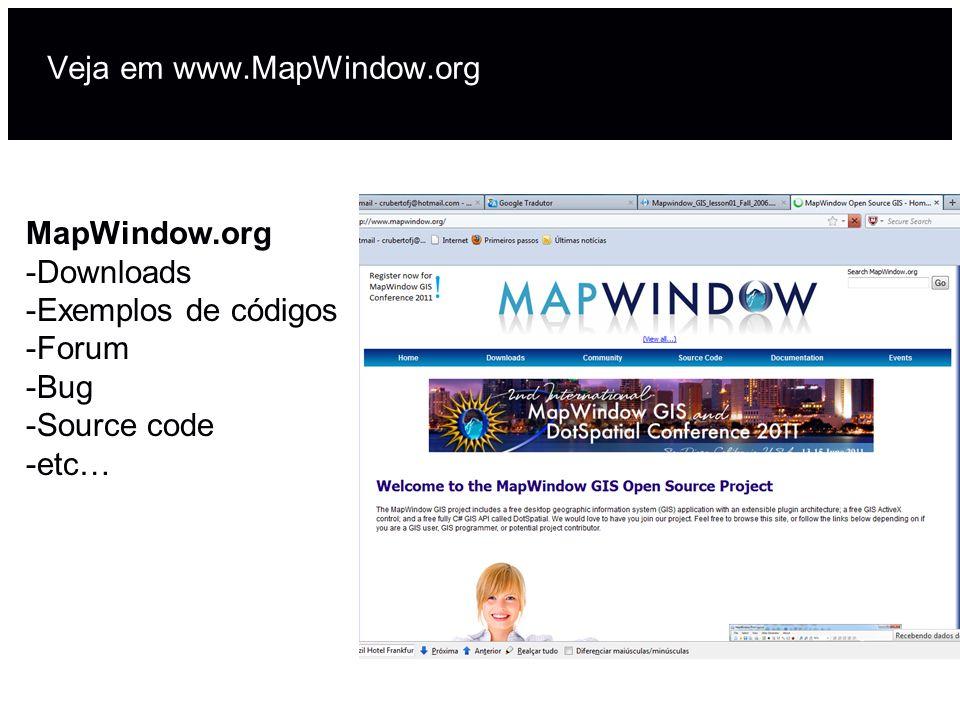 Veja em www.MapWindow.org MapWindow.org -Downloads -Exemplos de códigos -Forum -Bug -Source code -etc…