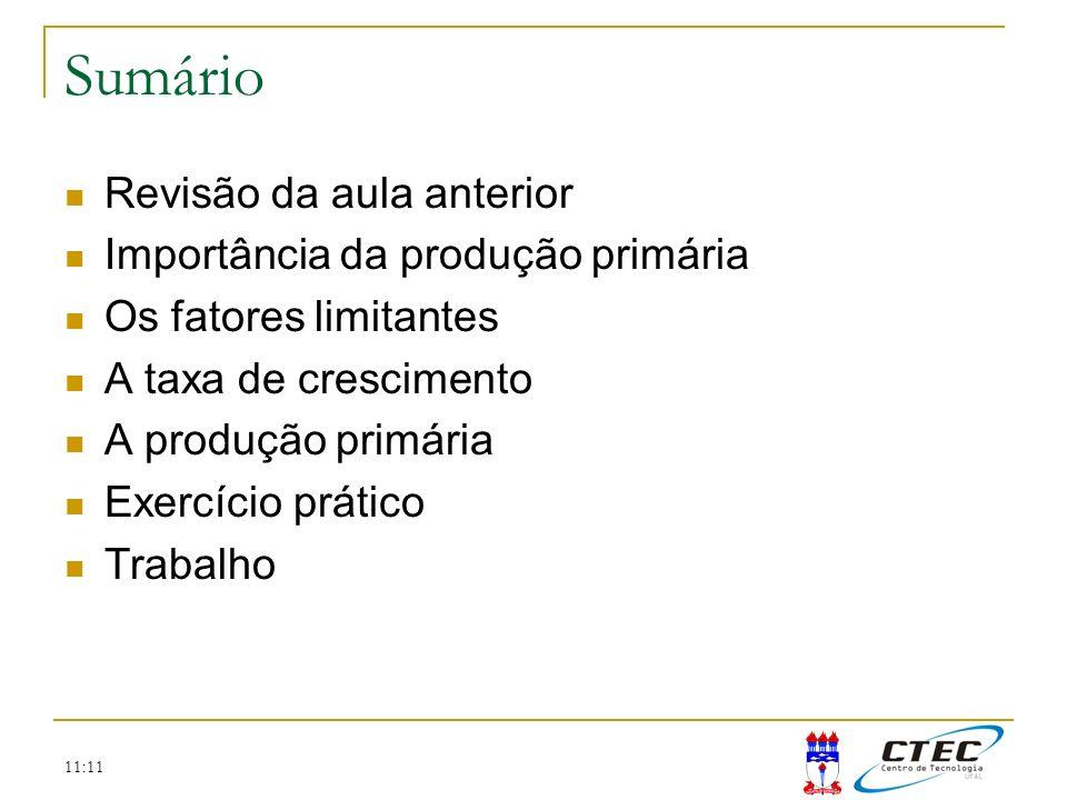 11:11 Sumário Revisão da aula anterior Importância da produção primária Os fatores limitantes A taxa de crescimento A produção primária Exercício prát