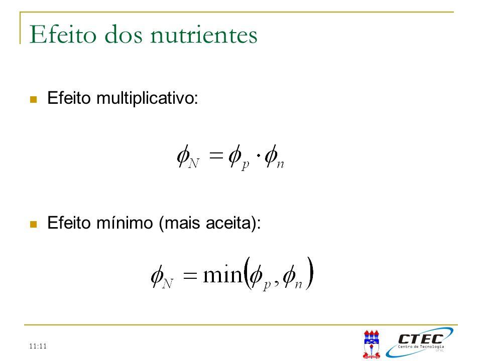 11:11 Efeito dos nutrientes Efeito multiplicativo: Efeito mínimo (mais aceita):