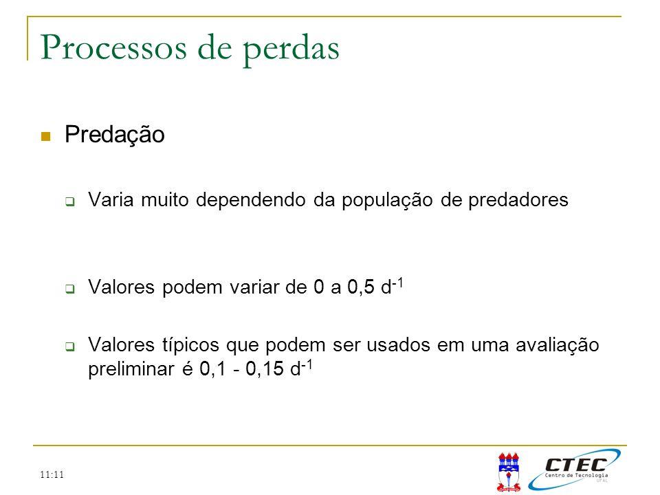 11:11 Processos de perdas Predação Varia muito dependendo da população de predadores Valores podem variar de 0 a 0,5 d -1 Valores típicos que podem se