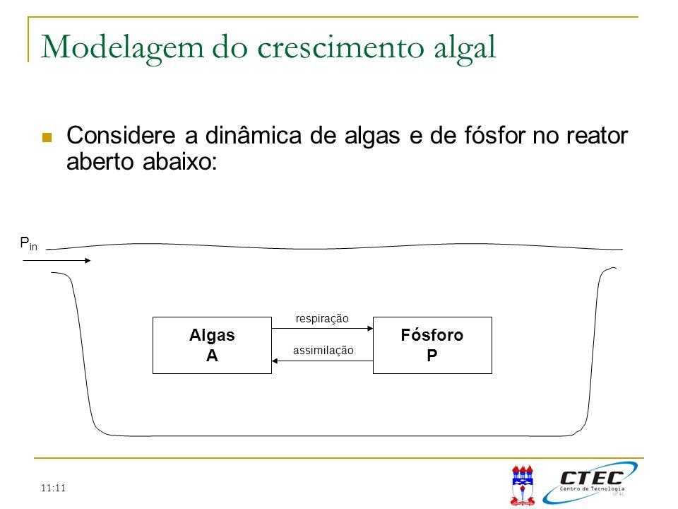 11:11 Modelagem do crescimento algal Algas A Fósforo P Considere a dinâmica de algas e de fósfor no reator aberto abaixo: P in respiração assimilação