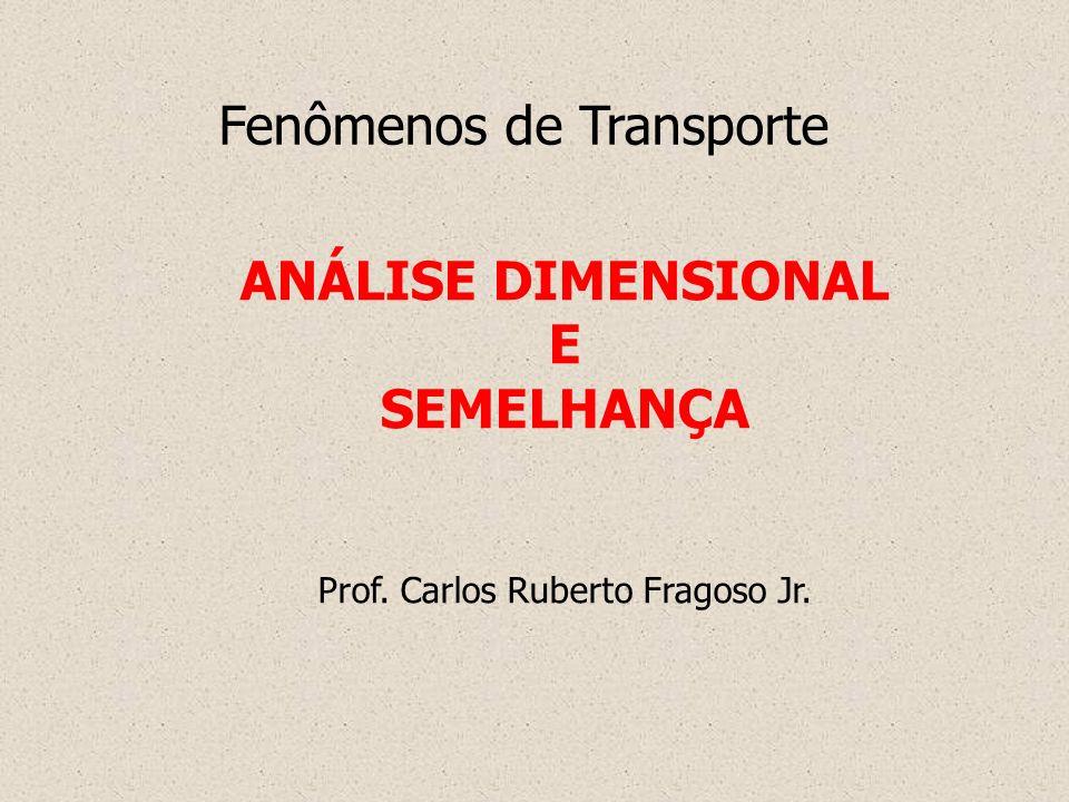 Semelhança Semelhança Completa A semelhança geométrica seja satisfeita; A razão de massa dos elementos correspondentes do fluido seja uma constantes; Os parâmetros adimensionais apropriados sejam iguais