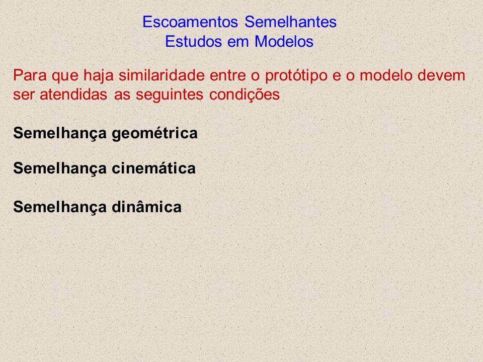 Escoamentos Semelhantes Estudos em Modelos Para que haja similaridade entre o protótipo e o modelo devem ser atendidas as seguintes condições Semelhan