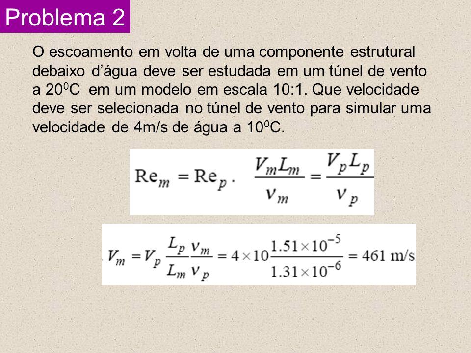 Problema 2 O escoamento em volta de uma componente estrutural debaixo dágua deve ser estudada em um túnel de vento a 20 0 C em um modelo em escala 10: