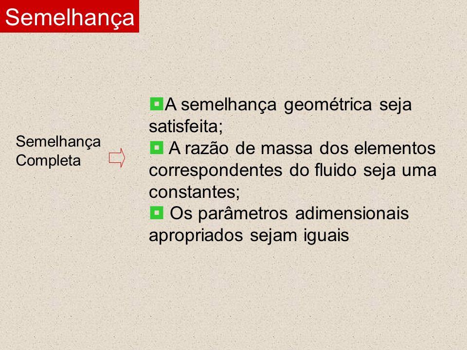 Semelhança Semelhança Completa A semelhança geométrica seja satisfeita; A razão de massa dos elementos correspondentes do fluido seja uma constantes;
